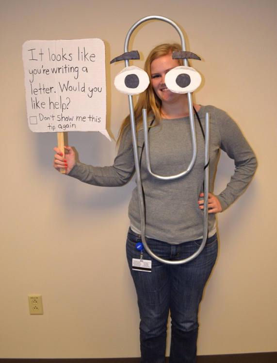 Microsoft's Clippy costume made by toothbrushdance. http://www.reddit.com/r/pics/comments/1pkr2o/didnt_win_the_costume_contest_at_work_guess_i/