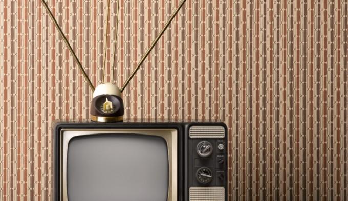 Vintage TV with Rabbit Ear Antenna