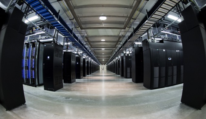 This picture taken with a fisheye lens shows thousands of servers at the new Facebook Data Center