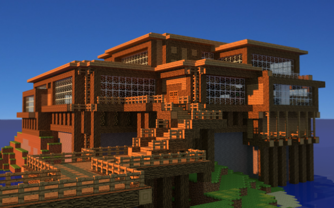 Minecraft beach house creation wallpaper for Amazing house pictures